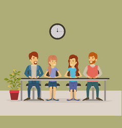Color background with teamwork sitting in table vector