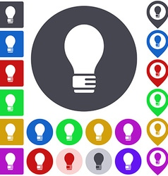 Color light bulb icon set vector