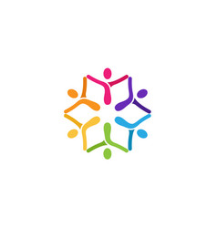 Colorful abstract people logo vector