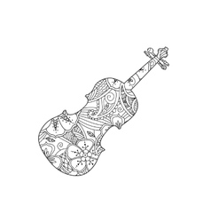 Coloring Page With Ornamental Violin Isolated On Vector