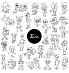 comic kids characters black and white set vector image