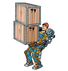 container loader working in the exoskeleton vector image