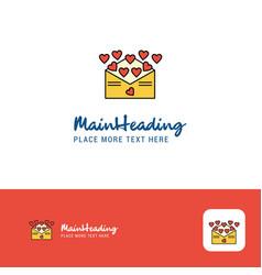 creative love letter logo design flat color logo vector image