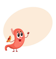 cute and funny smiling stomach character holding vector image