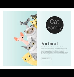 Cute animal family background with Cats 2 vector image