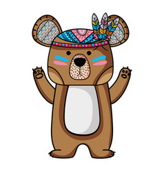 cute bear animal with feathers design vector image