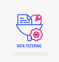Data filtering infornation through funnel icon vector