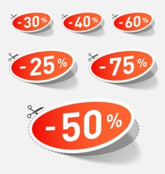 Discount percent with cut line vector