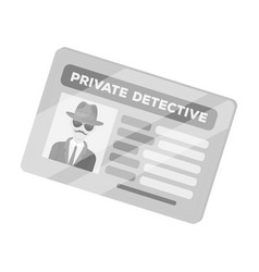 documents of a private detective card that shows vector image