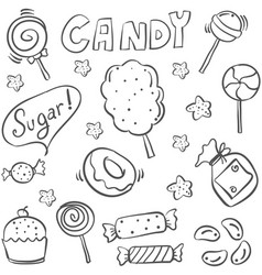 Doodle of sweet candy sketch hand draw vector