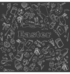 Easter chalk design line art vector image