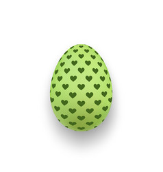 easter egg 3d icon cute green egg hearts vector image