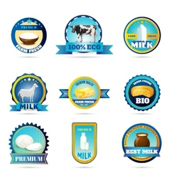 Eco farm milk dairy products labels vector image