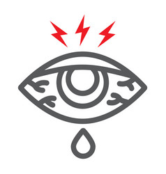 Eye sore line icon body and injure eye redness vector