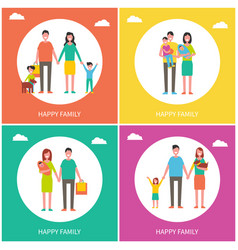 Family couples posters set vector