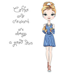 Fashion girl with coffee and croissant vector
