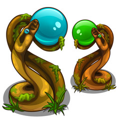 Figurines of snakes holding balls blue and green vector