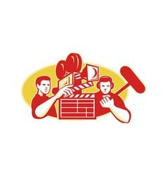 Film Director Movie Camera Clapper Soundman vector