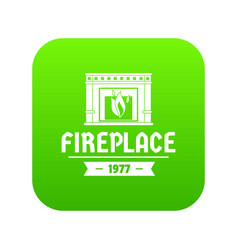 fireplace icon green vector image