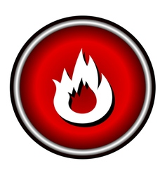 Flat Bonfire icon on red circle vector image