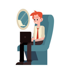 Flat business man typing at flight vector