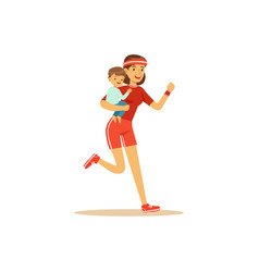 flat super mom running character with child vector image
