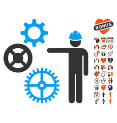 Gears mechanics presentation icon with dating vector