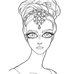 Girl with a decoration on her head vector