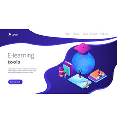 global online education isometric 3d landing page vector image