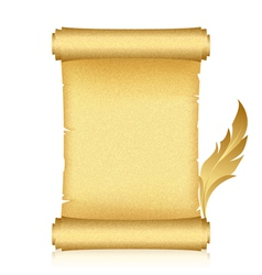 Gold scroll feather vector