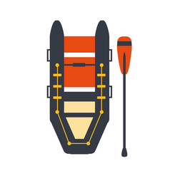 grey and red inflatable raft with one peddle part vector image