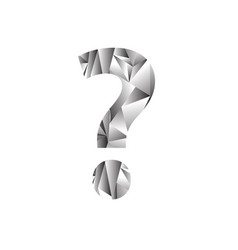 grey polygonal question mark isolated on white vector image