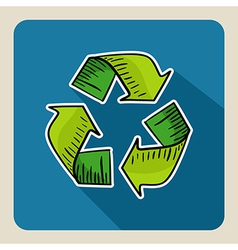 Hand drawn green recycle symbol vector image