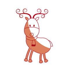 Happy cartoon christmas reindeer with scarf vector