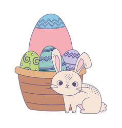 happy easter day rabbit basket with decorative vector image