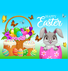 Happy easter poster bunny sitting in egg vector