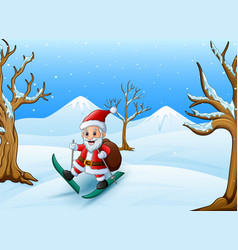 happy santa claus skiing with sack of gifts on win vector image