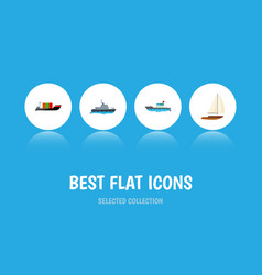 icon flat ship set of sailboat cargo yacht and vector image vector image