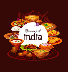 Indian thali dishes with rice meat and vegetables vector