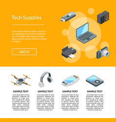 isometric gadgets icons page template vector image