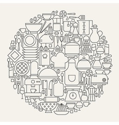 Kitchen Utensils and Cooking Line Icons Set Circle vector image