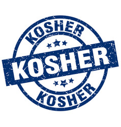 Kosher blue round grunge stamp vector