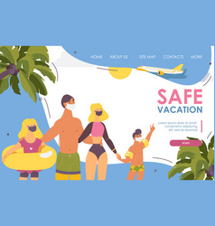 Landing page family on beach masked in vector