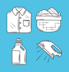 laundry icons set with ironing shirt basket and vector image