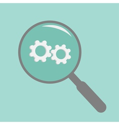 Magnifier and wheel Flat design style vector image vector image
