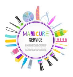 manicure pedicure tools set with nail polish vector image
