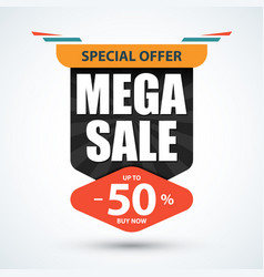 mega sale banner special offer design vector image