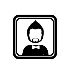 Monochrome square with half body man with beard vector