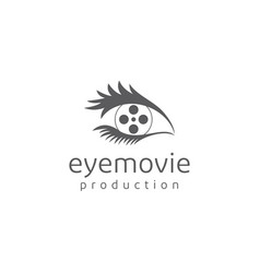 movie roll and eye for production logo vector image