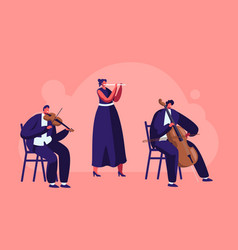musicians with instruments perform on stage vector image